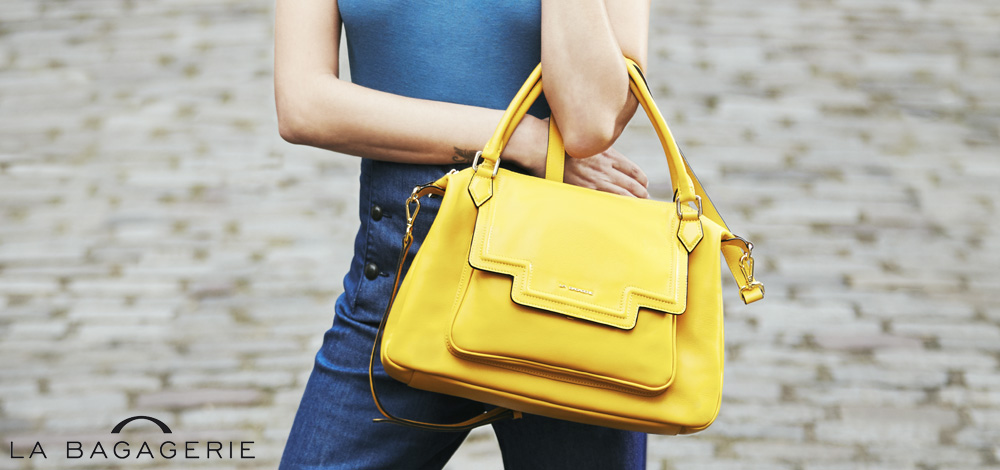 Sac à main en cuir jaune La Bagagerie, collection printemps été 2016